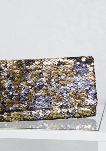 Sequin Clutch Black Gold