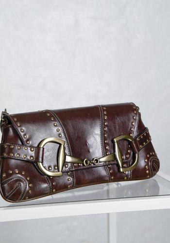 Brown Studded Chain Bag