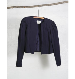 Black Puff Shoulder Cropped Blazer