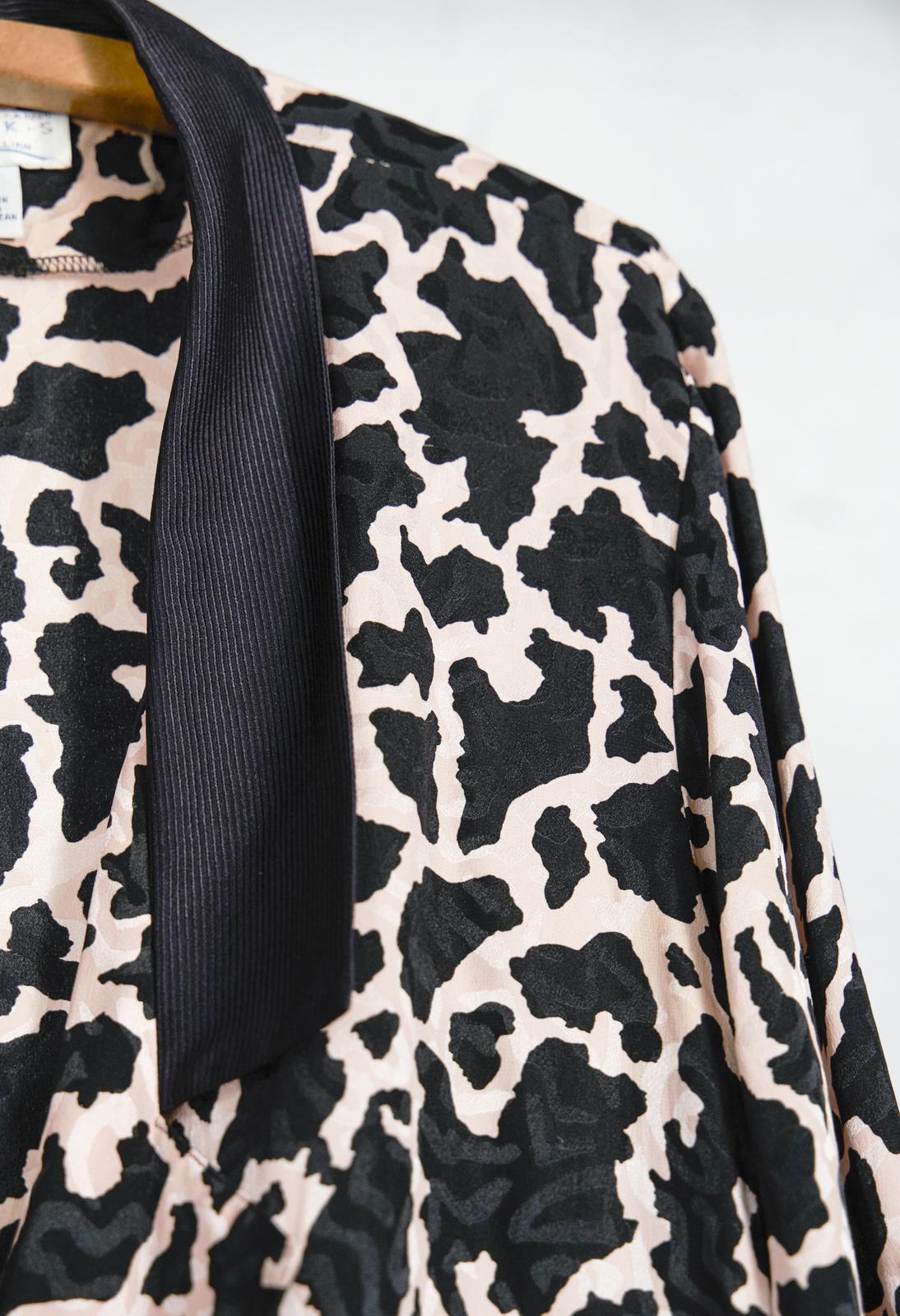 Lightweight Animal Print Blazer Salmon Black