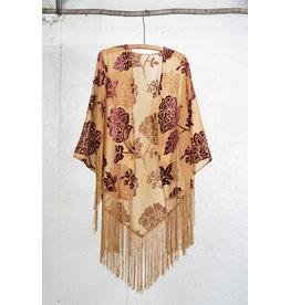 Kimono ocre fleur velours bordeaux