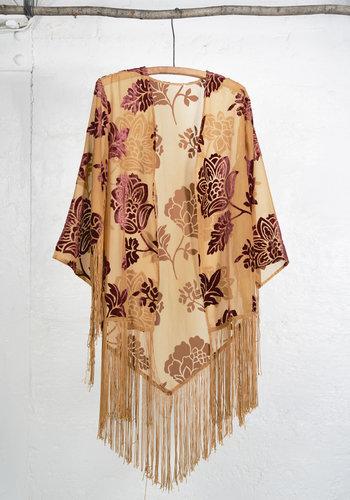 Floral Kimono Ocre Burgundy