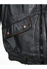 Blouson noir cuir court col mao