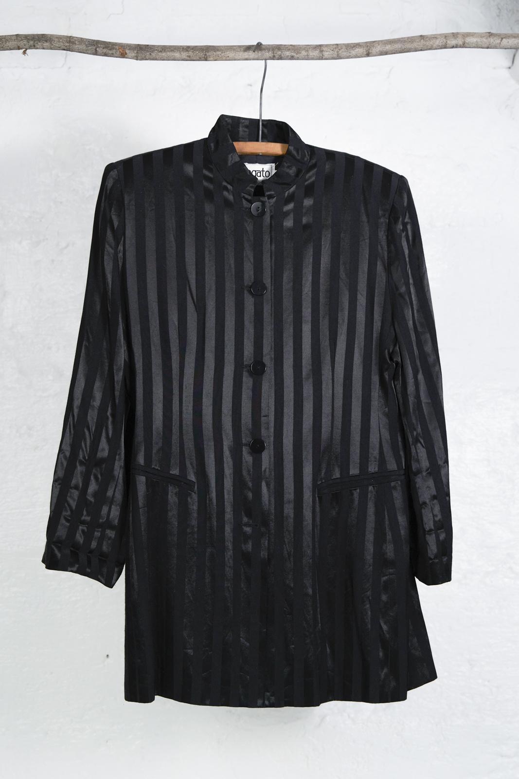 Long Black Tone on Tone Striped Blazer
