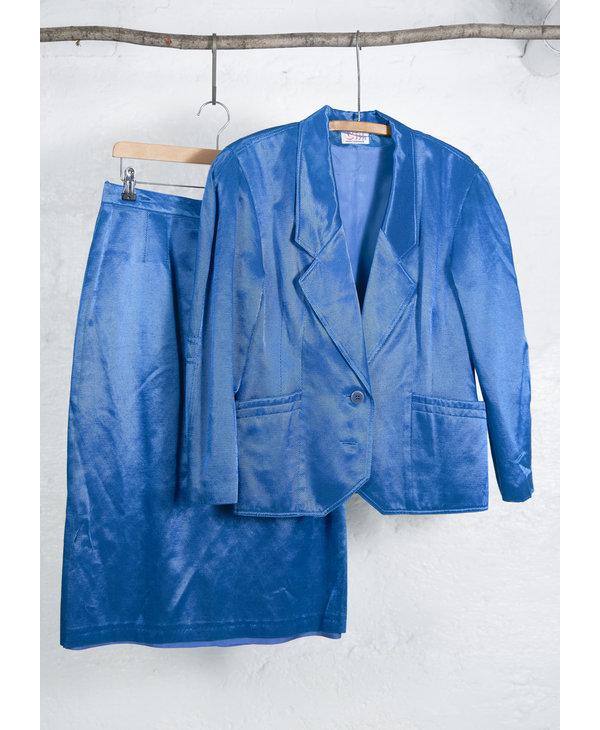 Turquoise Lamée Skirt Suit