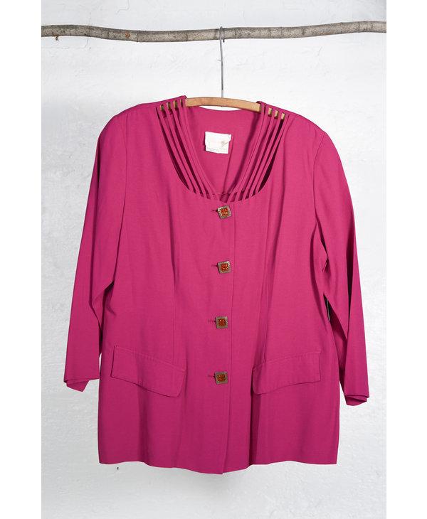 Fuchsia Pleated Skirt Suit