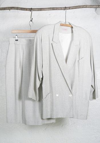 Ensemble jupe blanc fine ligne noire