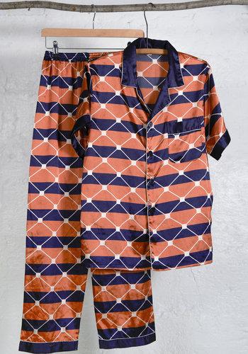 Orange Navy Pijama Set