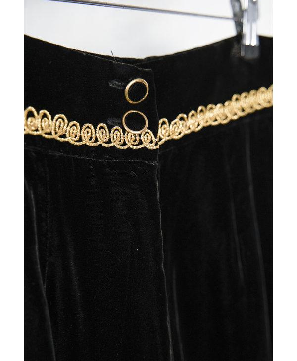 Velour Skirt Suit Black Gold