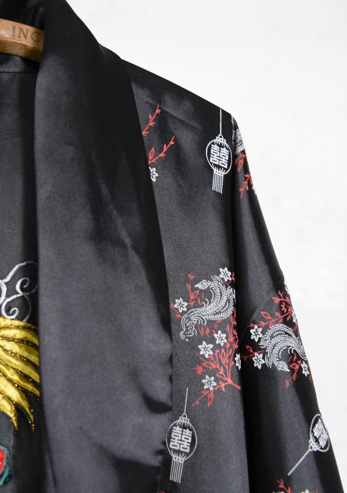 Kimono noir broderie dragon