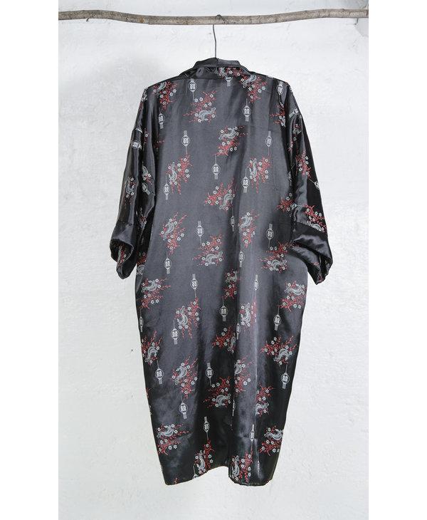 Black Dragon Embroidered Kimono