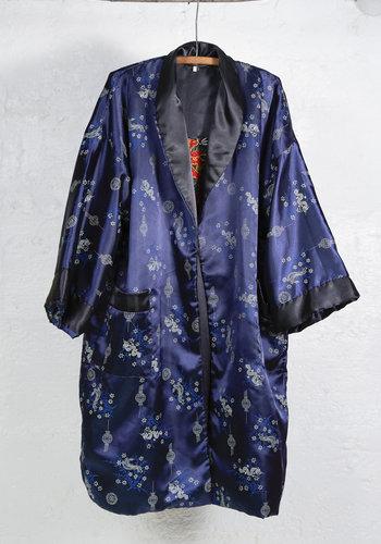 Reversible Navy Dragon Embroidered Kimono