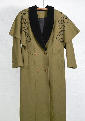 Long Olive Cape Coat