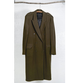 Long Double Breasted Coat Green-Brown