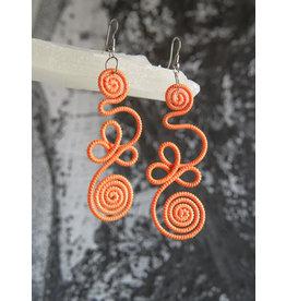 Orange twist earrings