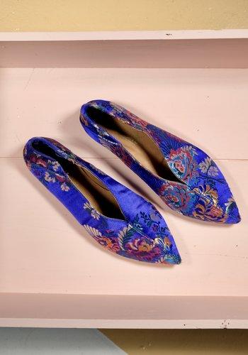 chaussure pointue brocade bleu