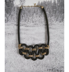 Black and gold string necklace
