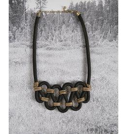 collier corde noire et or