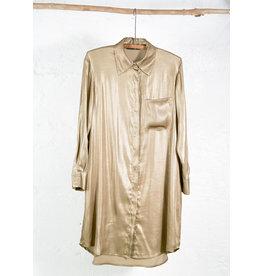 Long golden shirt dress