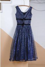 Blue Metallic Lace A-Line Party Dress