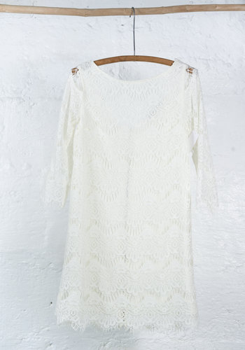 Robe courte dentelle ivoire