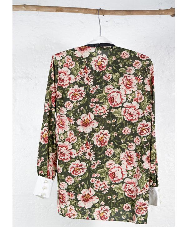 Long shirt english garden print with white collar