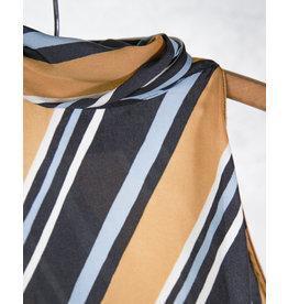 Halter top satin ligne diagonale ocre et bleu