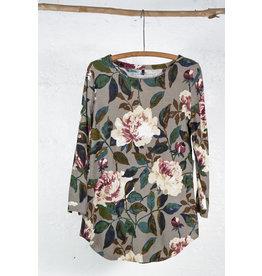 Robe courte taupe imprime fleur manche longue