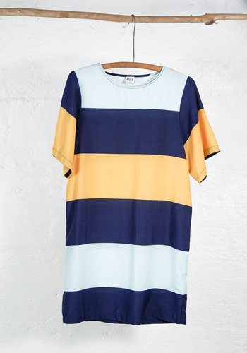 Short dress with aqua, navy and yellow stripes