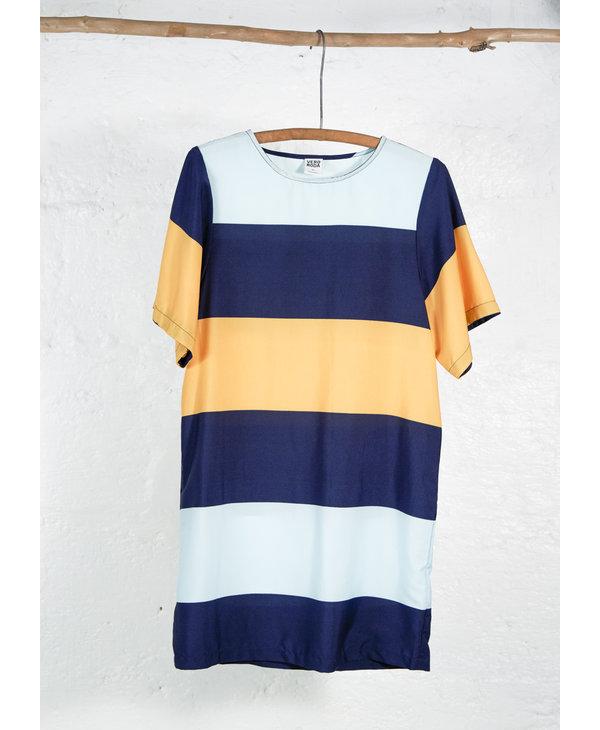 robe courte large bande marine jaune aqua