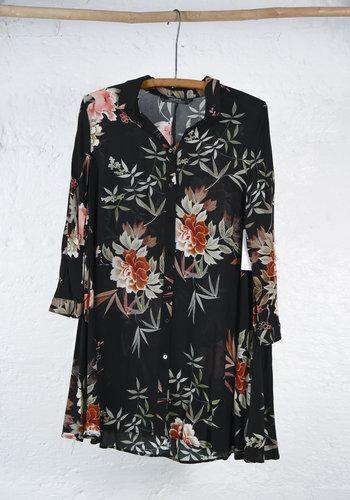 Black shirtdress with japanese flower print