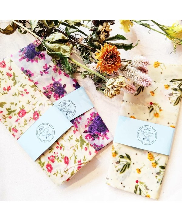 beeswax wraps - floral multi
