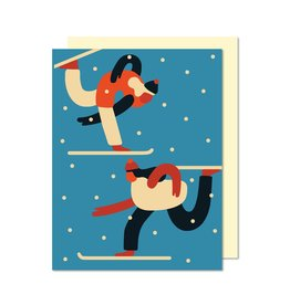 Paperole Skiers Greeting Card