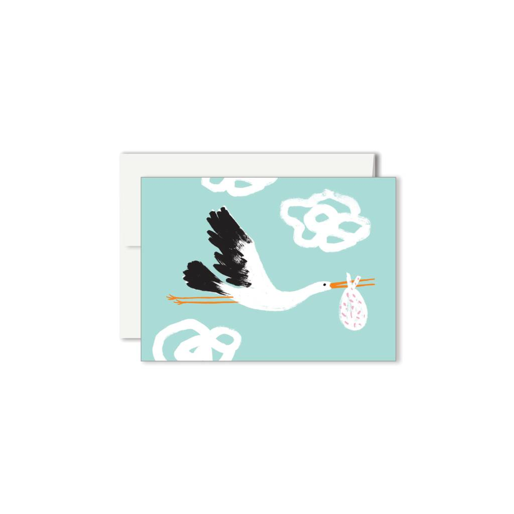 Paperole Paperole Stork Mini Greeting Card