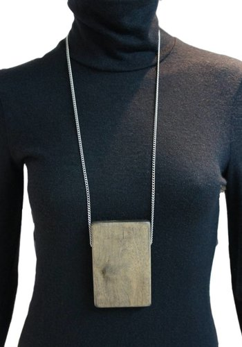 Rectangle Wood Necklace