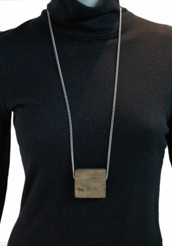 Wood Square Necklace