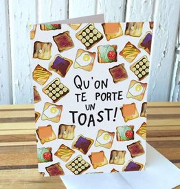 Merci Bonsoir par Marie-Claude Marquis Toast Greeting Card