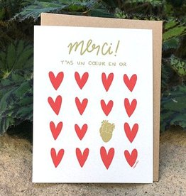 Darveelicious Carte Coeur en Or