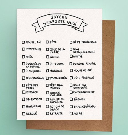 Darveelicious Joyeux n'importe Quoi Greeting Card