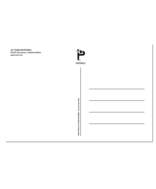 Paperole Carte Postale Je t'aime Montreal