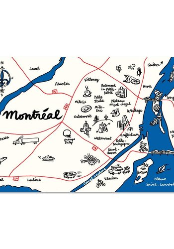 Map Montreal Postcard