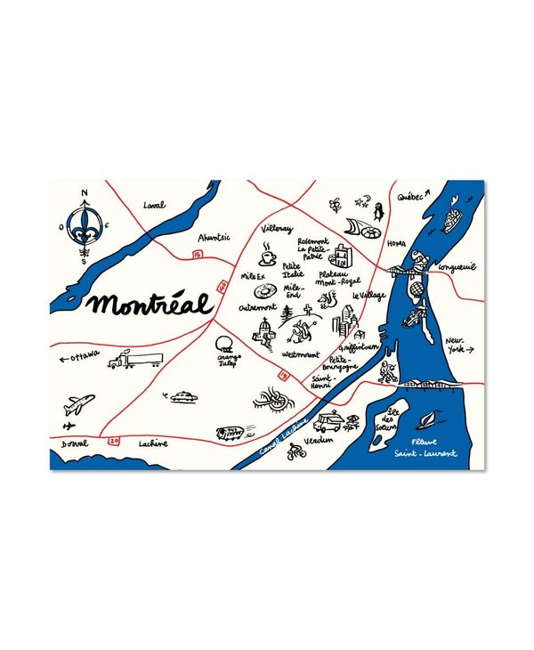 Paperole Map of Montreal Postcard