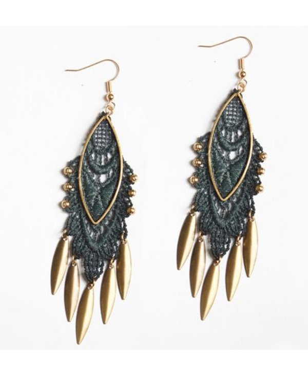 This Ilk Koi Earrings - Lace and brass