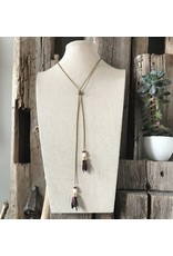 This Ilk This Ilk Indica Necklace - Burgundy lace, marble beads and brass