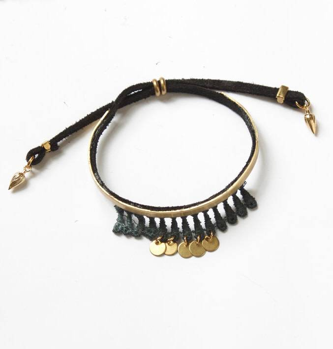 This Ilk This Ilk Charas Bracelet - Teal lace, suede and brass