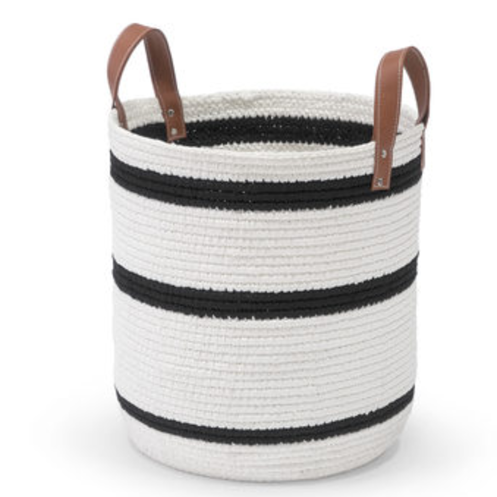Basket - Roscoe - White & Navy - Leather Handles - 14.5 D x 19.5 H