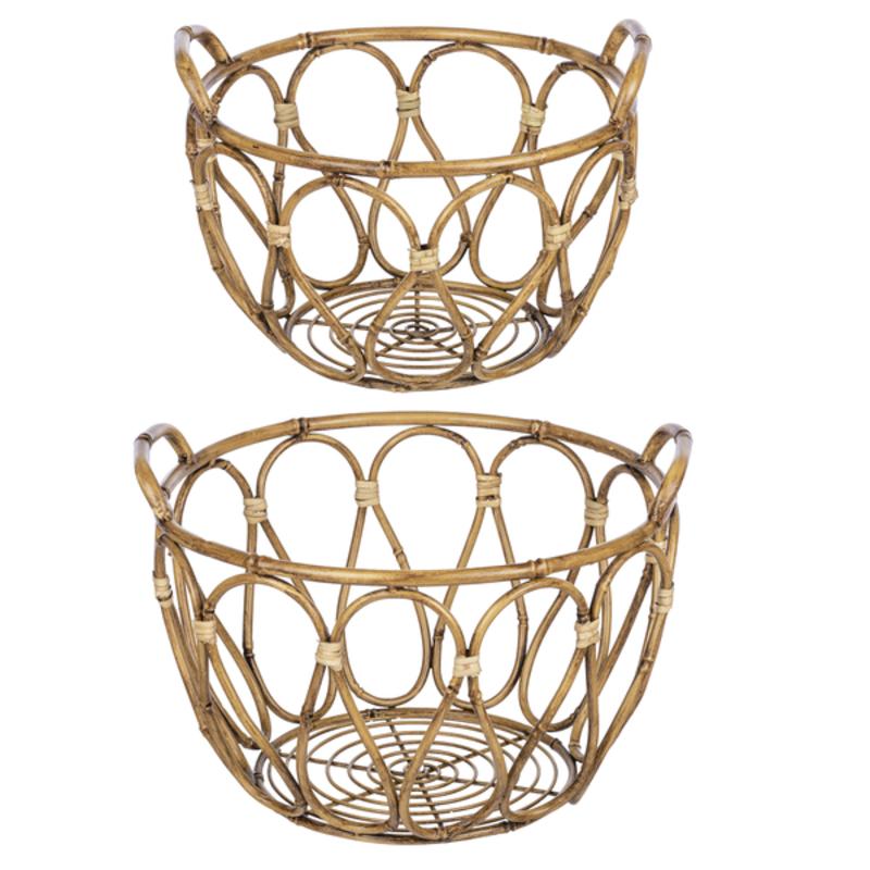 Ganz Basket - Faux Bamboo - Round -