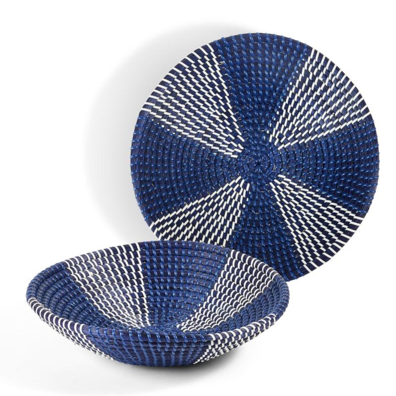 Basket - Blue/White Seagrass -