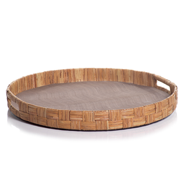 """Zodax Tray - Abaca Silk Woven Cane - Round  - Taupe - 20""""D"""