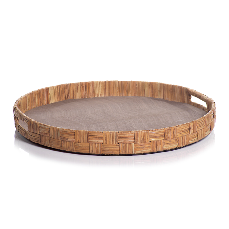 """MH Tray - Abaca Silk Woven Cane - Round  - Taupe - 20""""D"""